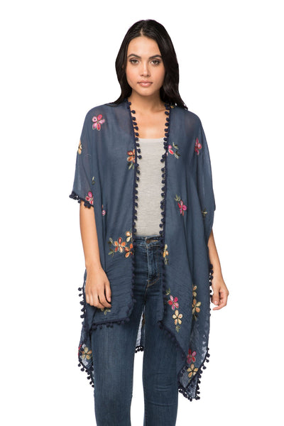 Dash of Daisy Embroidered Kimono in Navy - Subtle Luxury