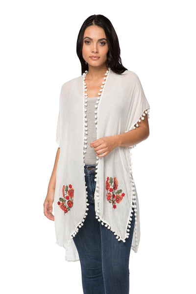 Woodstock Embroidered Kimono in White