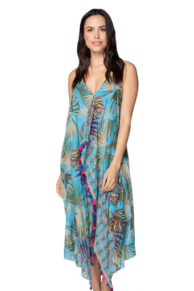 Maxi Tassel Dress in Embroidered Jungle - Subtle Luxury
