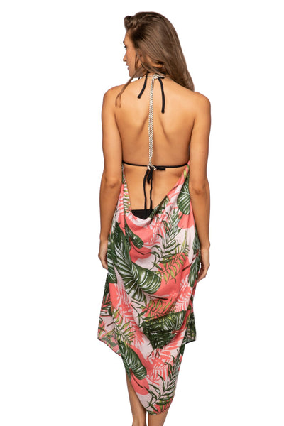 Maxi Tassel Dress in Pink Palms Print | cover up sun dress - Pool to Party - Subtle Luxury