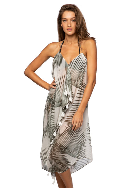 Maxi Tassel Dress in Palm Nymph Print | cover up sun dress - Pool to Party - Subtle Luxury