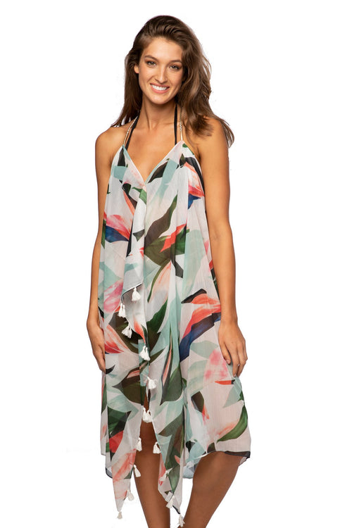 Maxi Tassel Dress in Birds of Paradise Print | cover up sun dress - Pool to Party - Subtle Luxury