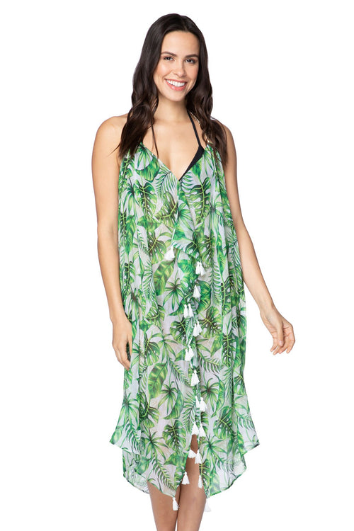 Maxi Tassel Dress in Leafy Delight - Subtle Luxury
