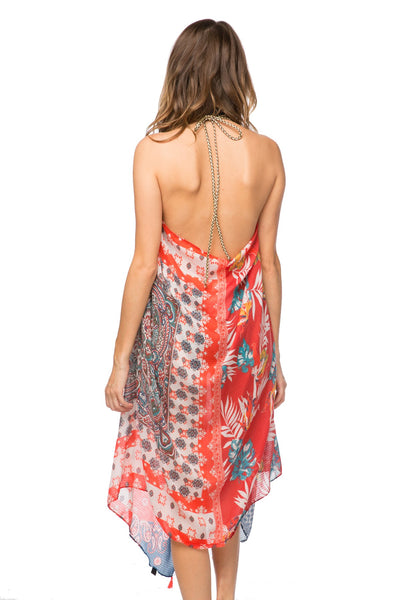 Maxi Tassel Dress in Two-Faced print