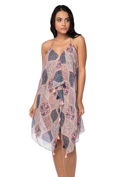 Maxi Tassel Dress in Lattice Garden Print | cover up sun dress - Pool to Party - Subtle Luxury