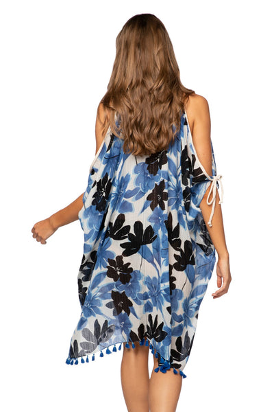 Open Shoulder Dress in Blue Blossom