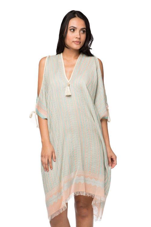 Open Shoulder Dress in Tidal Wave - Subtle Luxury