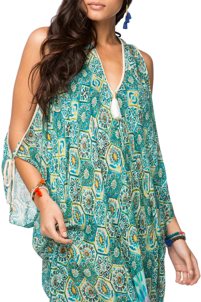 Open Shoulder Dress in Venetian Tiles