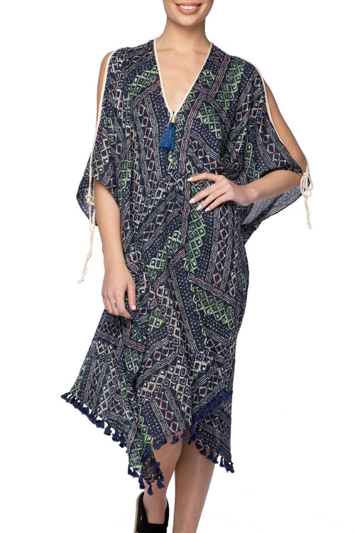Geo Scribbles Open Shoulder Dress