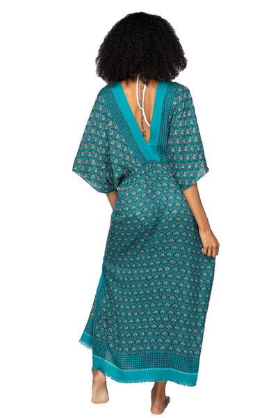 Moroccan Peacock Poolside Maxi Dress - Subtle Luxury