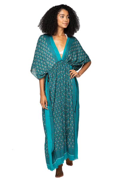 Moroccan Peacock Poolside Maxi Dress