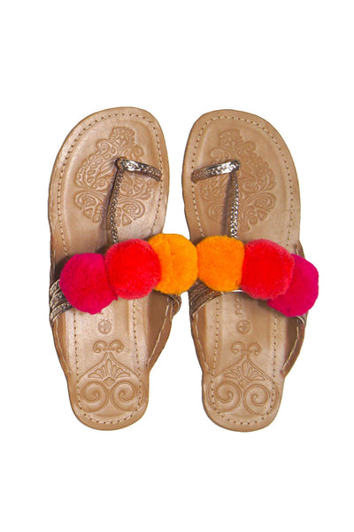 Pom Pom Sandal in Gold w/Sunset trim - Subtle Luxury