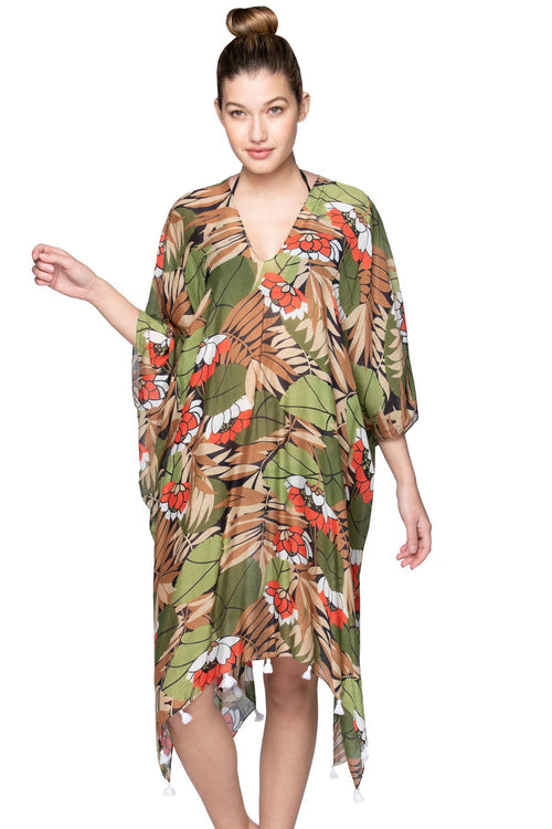 Lotus Pathway V-Neck Dress in Multi - Subtle Luxury