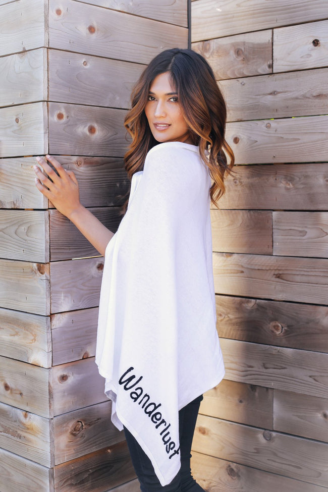 2 Way Wrap in White with Wanderlust/Free Spirit Embroidery - Subtle Luxury