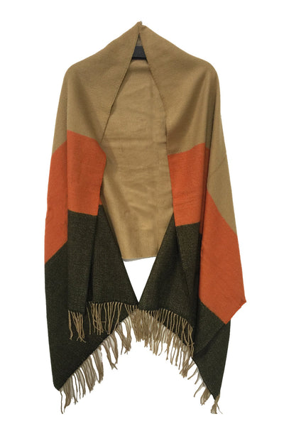 Triple Blocked Color Blanket Wrap in Burnt Colors - Subtle Luxury