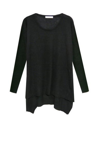 100% Cashmere Loose & Easy Crew Sweater in Black - Subtle Luxury