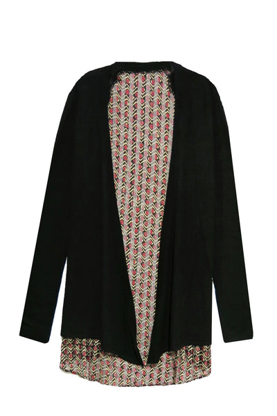Drape Back Swing Jacket in Onyx in Tiger Eye Print - Subtle Luxury