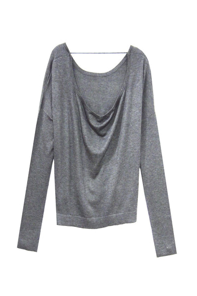 Drape Back Crop Crew in Pebble - Subtle Luxury