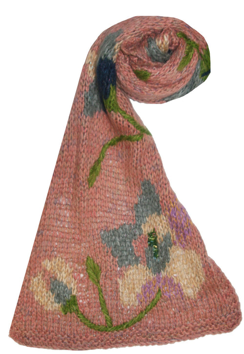 Spun - Floral Hand Embroidery Knit Scarf in Pink - Subtle Luxury