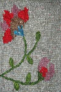 Floral Hand Embroidery Knit Scarf