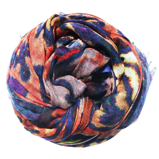 Modal/Cashmere Digitally Printed Woodstock Scarf in Cobalt/ Rust