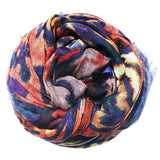 Modal/Cashmere Digitally Printed Woodstock Scarf in Cobalt/ Rust - Subtle Luxury