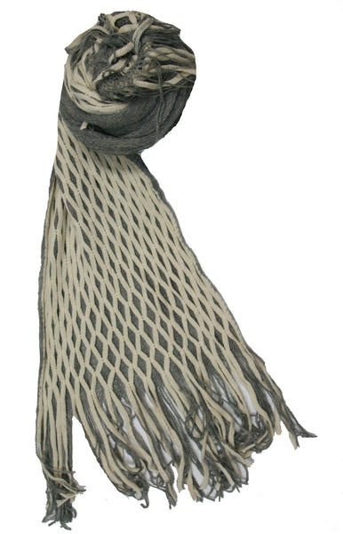 Convertible Over-sized Hand Knit Scarf in Cream & Grey - Subtle Luxury