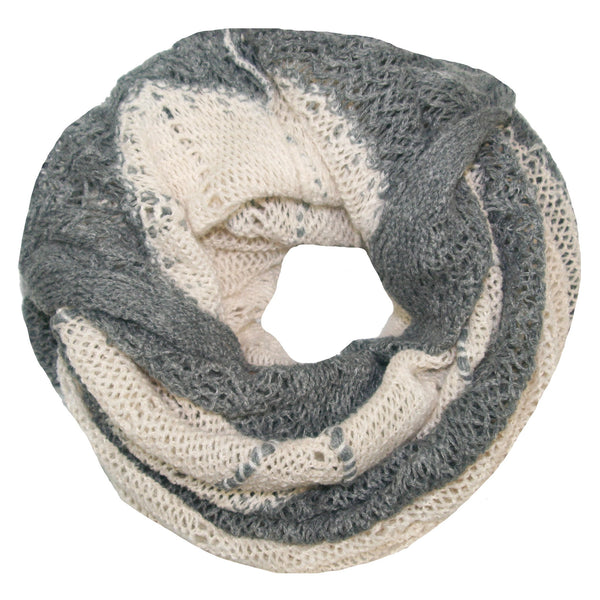 Hand Knit Convertible Scarf with Scalloped Edge in Cream/Grey by Spun
