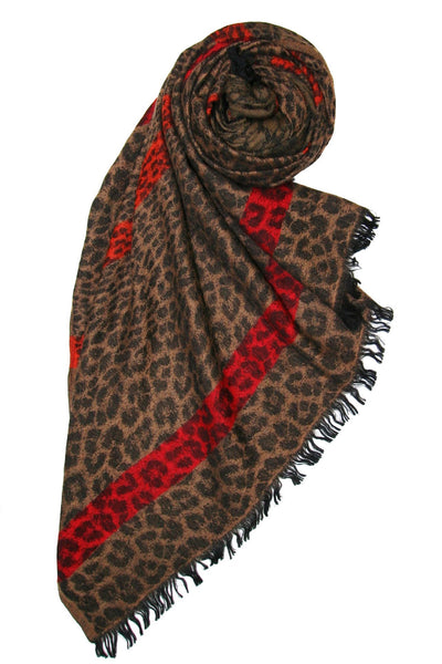 Cheetah Stripe Printed Scarf in Brown