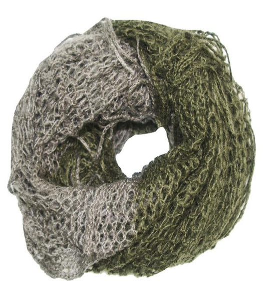 Hand Knit Convertible Infinity Scarf in Olive/Grey by Spun - Subtle Luxury