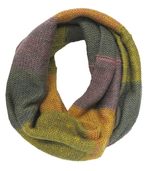 Hand Knit Color Block Infinity in Colors by Spun - Subtle Luxury