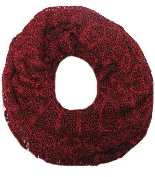 Hand Knit 2-Way Net Infinity Scarf in Red by Spun
