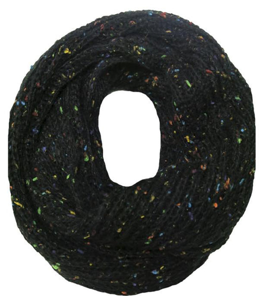 Hand Knit Funfetti Circle Scarf in Black by Spun - Subtle Luxury
