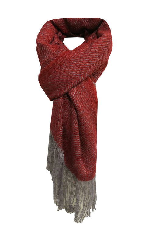 Chevron Blanket Wrap in Red - Subtle Luxury