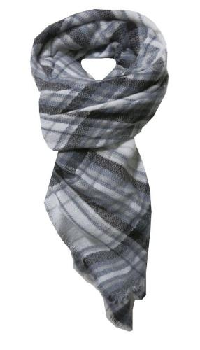 Forever Plaid Blanket Wrap in Grey - Subtle Luxury
