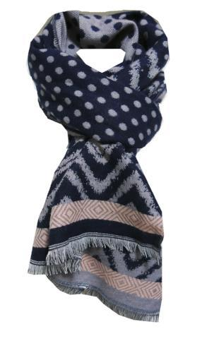 Polka Dotty Blanket Wrap in Navy