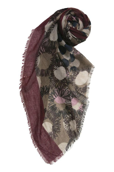 Flower & Dots Printed Scarf in Maroon - Subtle Luxury