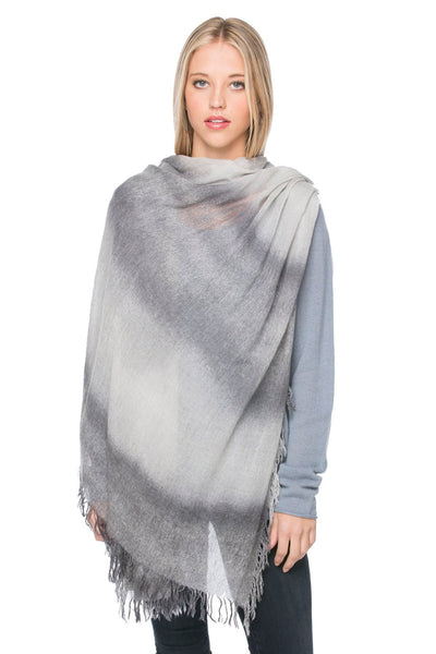 100% Cashmere Luxury Wrap Light Fade Scarf in Grey