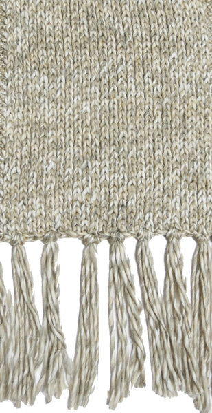 Twisted Knit Scarf with Tassels in Taupe by Spun
