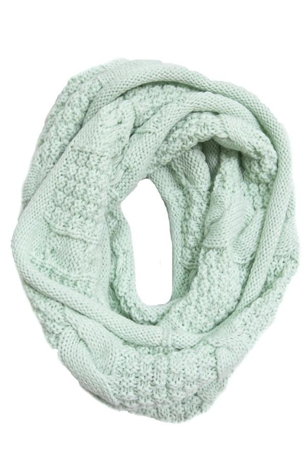 Cable Knit Infinity Scarf & Hat Set in Mint by Spun - Subtle Luxury