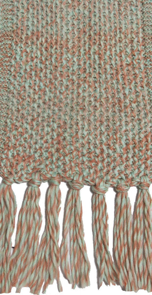 Twisted Knit Scarf with Tassels in Peppermint by Spun