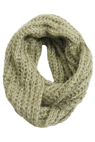 Shimmer Knit Infinity Scarf in Gold by Spun - Subtle Luxury