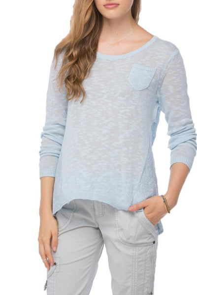 Embroidered Back Crew in Sky - Subtle Luxury