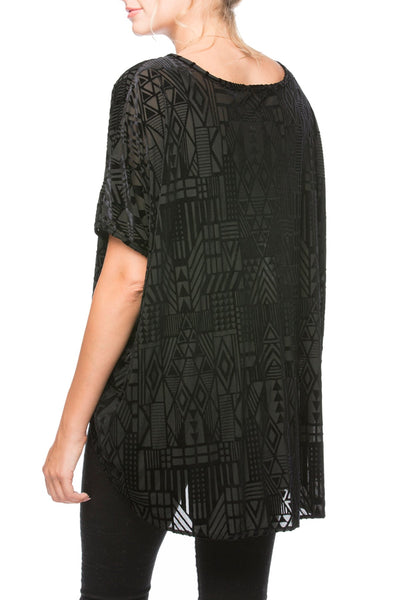 Bright Eyes Stretch Velvet Tee in Geometric-Midnight - Subtle Luxury