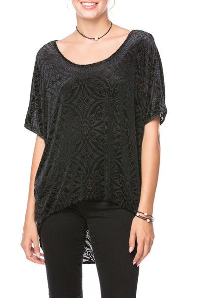 Bright Eyes Stretch Velvet Tee in Medallion Slate - Subtle Luxury