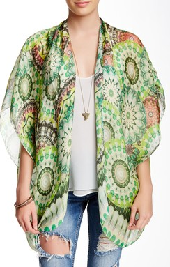 Electric Bloom Kimono Wrap in Green - Subtle Luxury