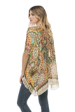 Electric Bloom Kimono Wrap in Orange - Subtle Luxury