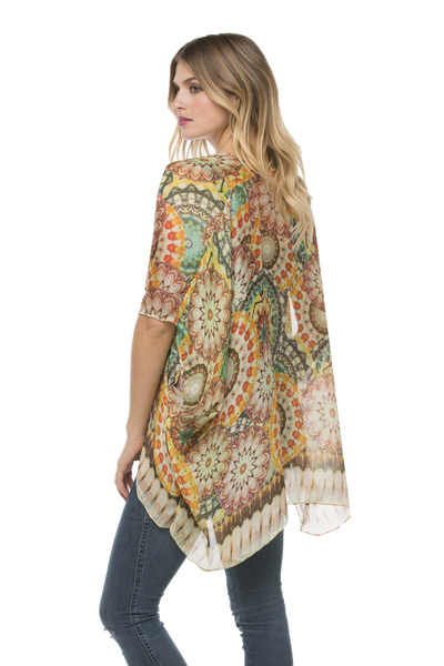 Electric Bloom Kimono Wrap in Orange