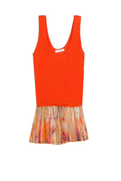 Vintage Flounce Sweater Tank in Washed Stripe-Coral - Subtle Luxury