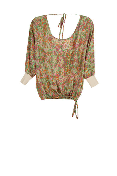 SALE Reversible Silk Top with Sweater Rib in Clover Multi - Subtle Luxury